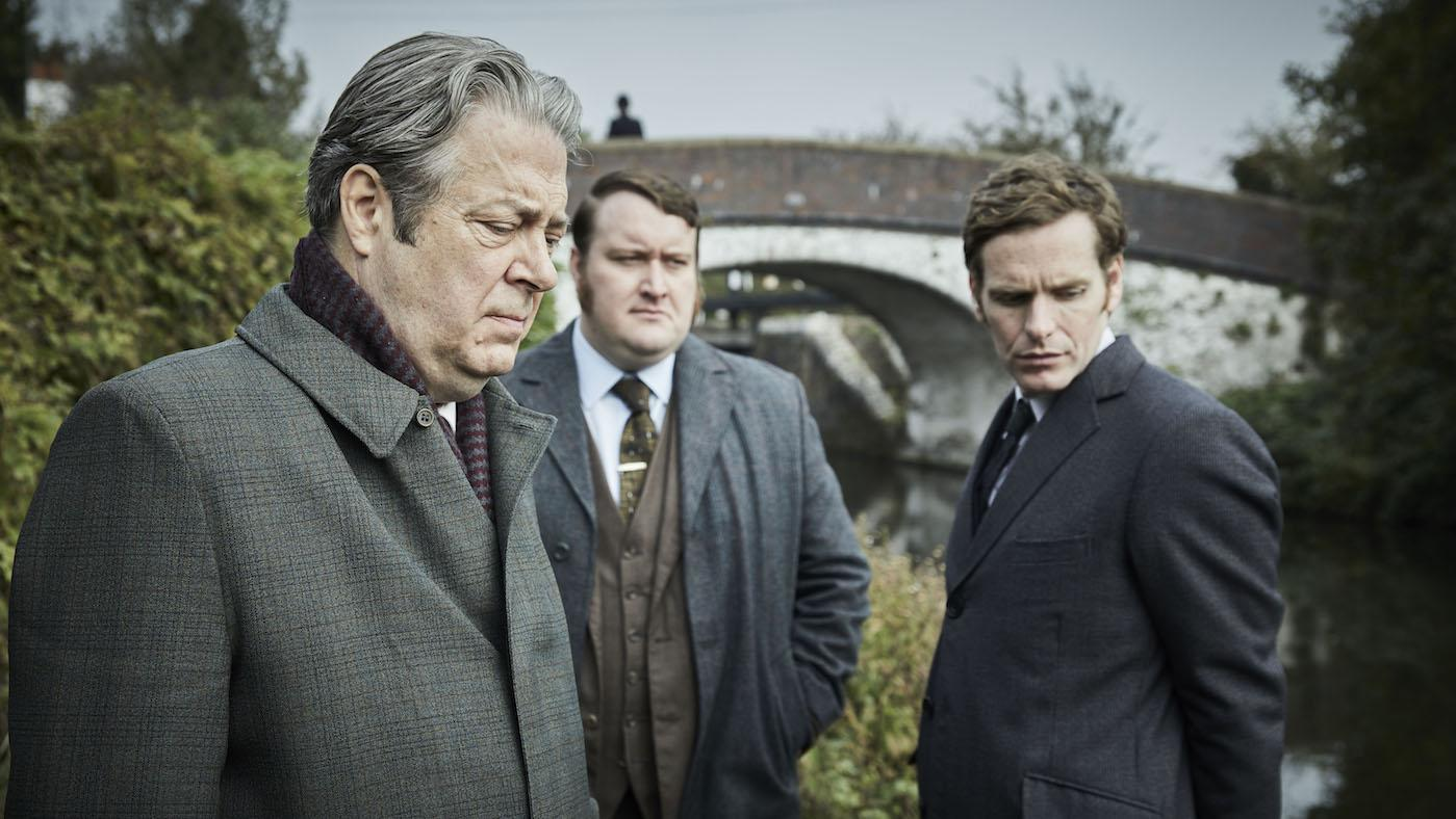 Thursday, Strange, and Morse in 'Endeavour' season 7. Photo: Mammoth Screen
