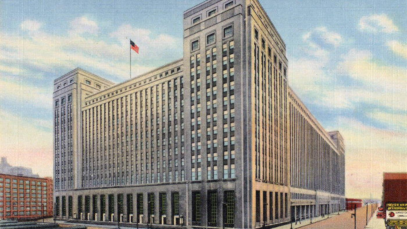 A postcard of Chicago's Old Main Post Office, from 1941. Image: Curt Teich postcard/Wikimedia Commons