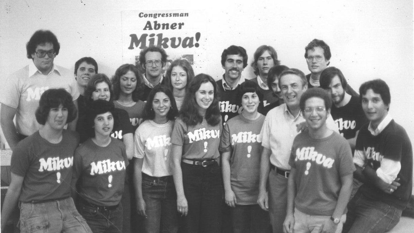 Abner Mikva with young volunteers for his campaign. Photo: Courtesy Mikva family
