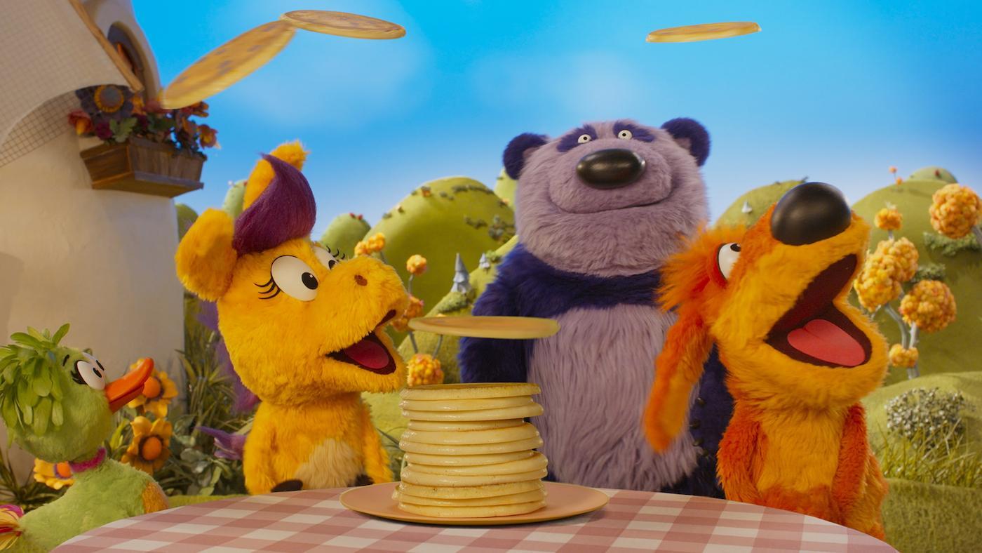 Donkey Hodie, Purple Panda, and Bob Dog. Image: Courtesy Fred Rogers Productions