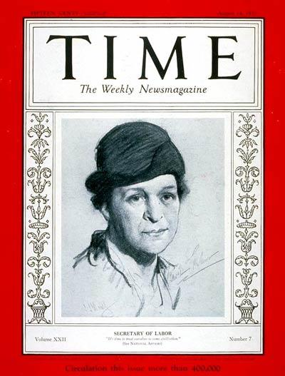 The August 14, 1933 issue of Time Magazine, with Frances Perkins on the cover.