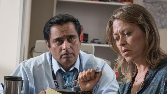 Nicola Walker as DCI Cassie Stuart and Sanjeev Bhaskar as DS Sunny Khan. Photo: John Rogers/Mainstreet Pictures
