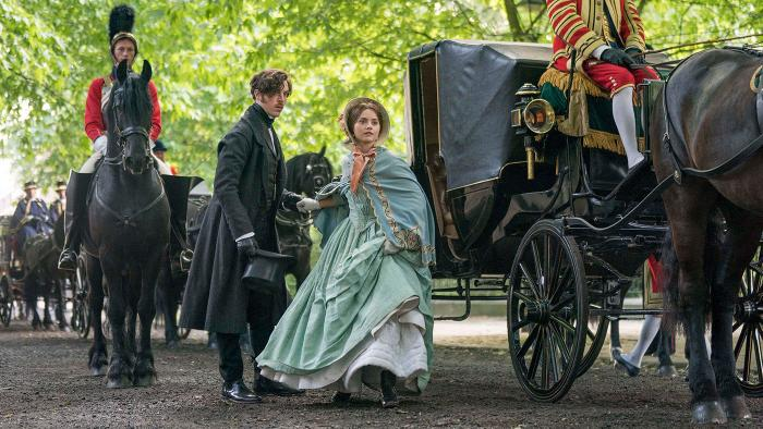 Jenna Coleman as Victoria and Tom Hughes as Albert in Victoria. Photo: Aimee Spinks/ITV Plc for MASTERPIECE