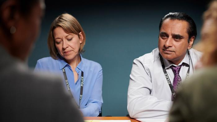 Cassie (Nicola Walker) and Sunny (Sanjeev Bhaskar) in Unforgotten. Photo: Mainstreet Pictures for ITV and MASTERPIECE