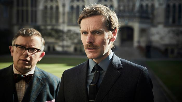 Dr. DeBryn and Morse in Endeavour. Photo: Mammoth for ITV and MASTERPIECE
