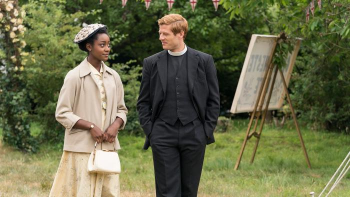 Simona Brown as Violet Todd and James Norton as Sidney Chambers in Grantchester. Photo: Colin Hutton/Kudos and MASTERPIECE