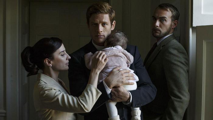 Morven Christie, James Norton, and Tom Austen in Grantchester. Photo: Colin Hutton and Kudos/ITV for MASTERPIECE