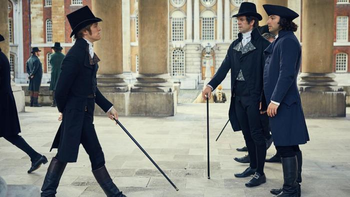 Jack Farthing as George, John Hopkins as Sir Francis Basset and Aidan Turner as Ross in Poldark. Photo: Mammoth Screen for BBC and MASTERPIECE