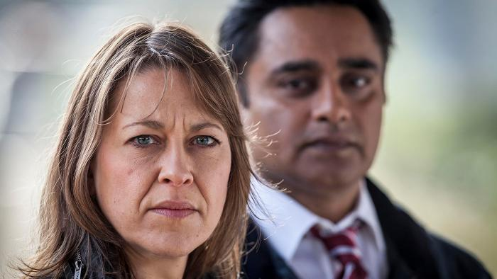 Cassie Stuart (Nicola Walker) and Sunny Khan (Sanjeev Bhaskar) in Unforgotten. Photo: John Rogers/Mainstreet Pictures