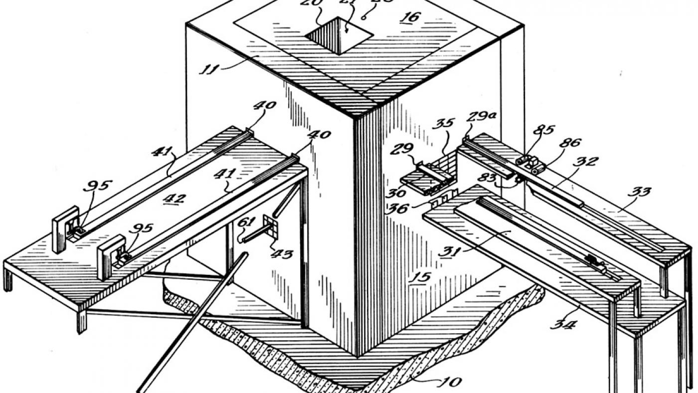 Drawing of a nuclear reactor based on Chicago Pile-1 from the 1944 patent application by inventors Enrico Fermi and Leo Szilard. (Image courtesy Argonne National Laboratory)