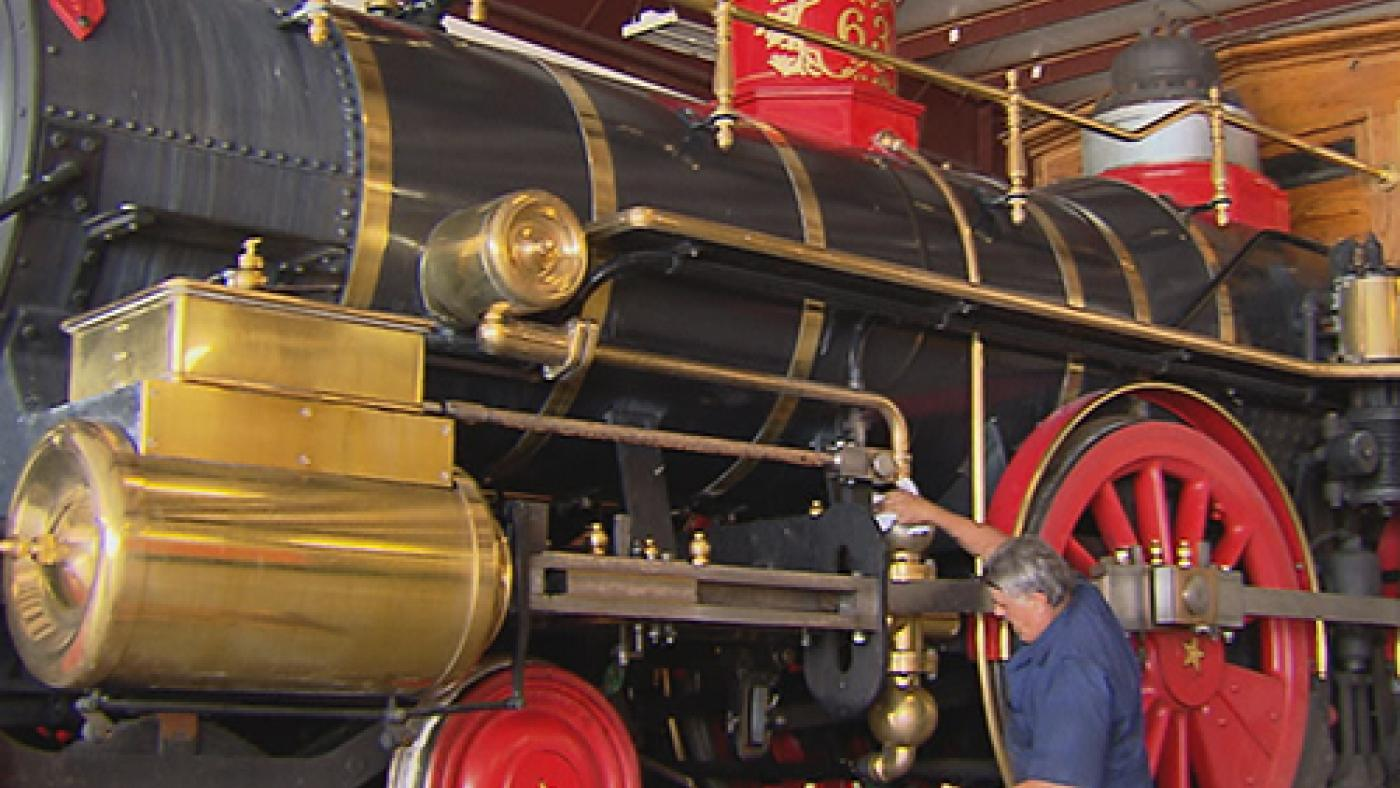 Dave Kloke with his working replica of the Leviathan locomotive, which pulled Lincoln's funeral car on a tour from Washington, D.C. to Springfield, Illinois.