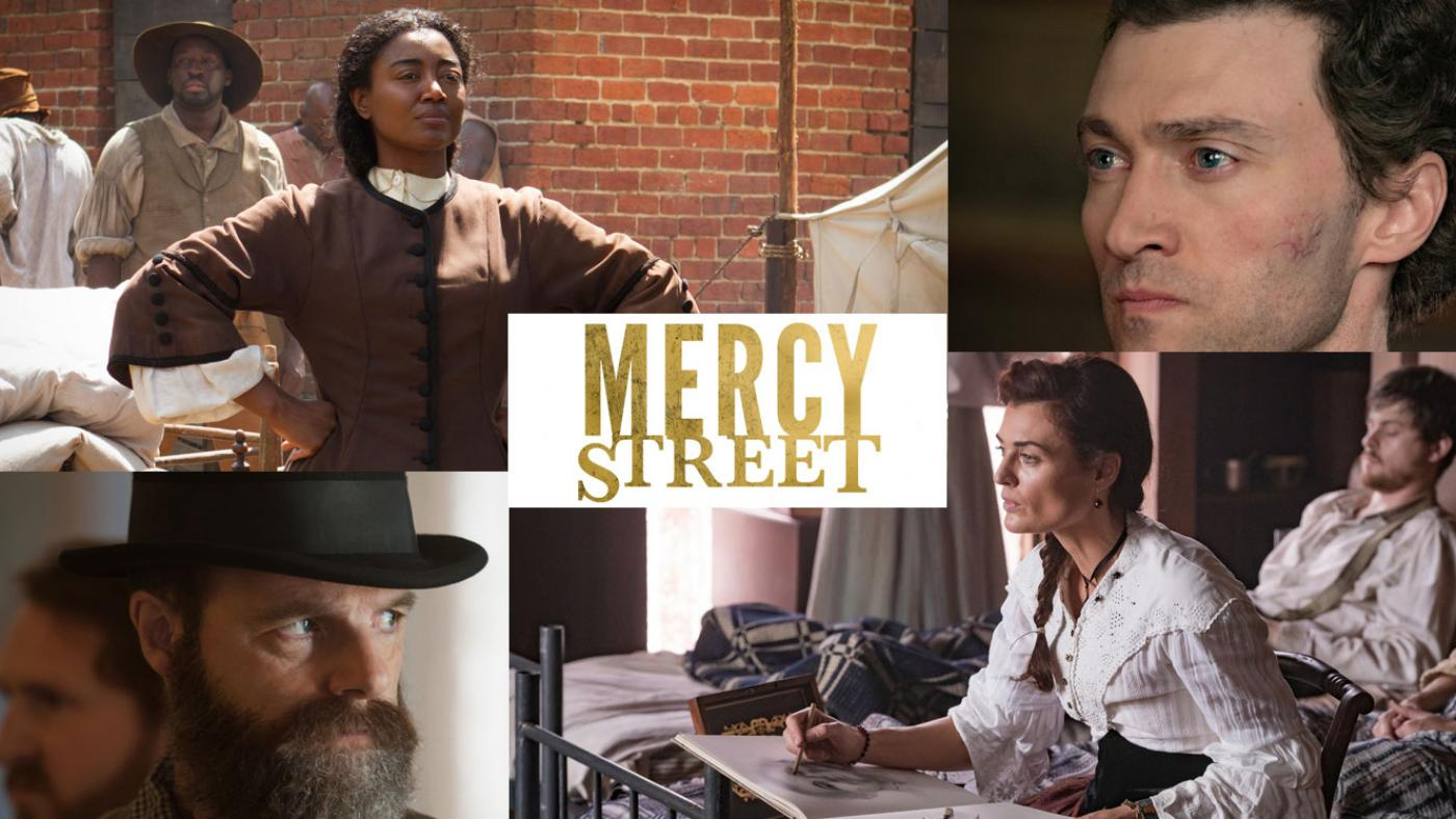 Charlotte Jenkins, Major McBurney, Lisette Beaufort, and Allan Pinkerton in Mercy Street. (Photos courtesy of PBS/Erik Heinila)