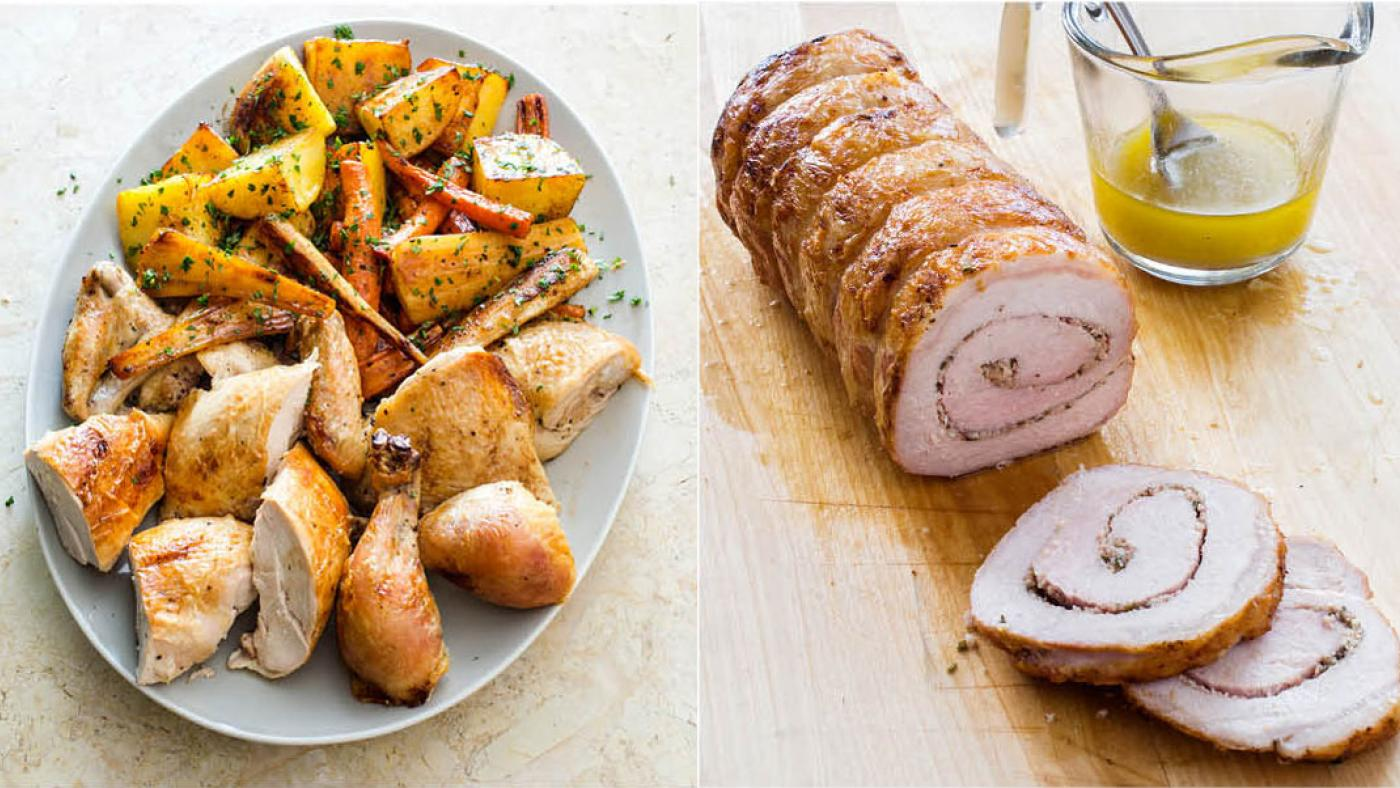 America's Test Kitchen's Best Roast Chicken with Root Vegetables and Tuscan-style Roast Pork with Garlic and Rosemary. (Carl Tremblay)