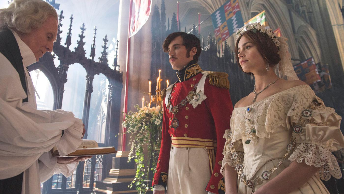 Prince Albert and Queen Victoria resplendent at their wedding. (ITV Plc)