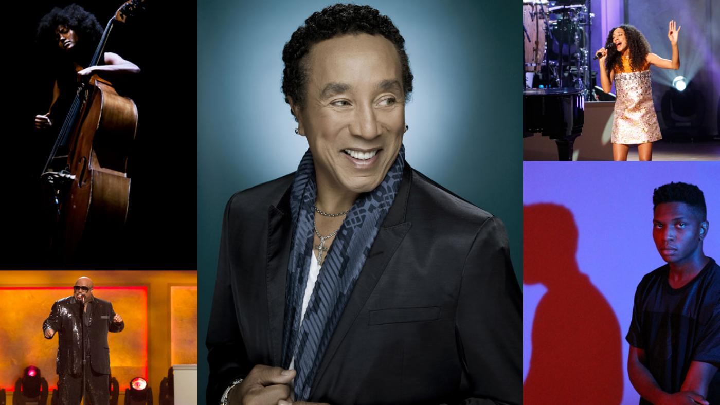 Esperanza Spalding, Smokey Robinson, Corinne Bailey Rae, Gallant, Cee-Lo Green. (Courtesy of: the artist; Nick Spanos; Library of Congress, Photo by Shawn Miller; the artist; Cable Risdon Photography)