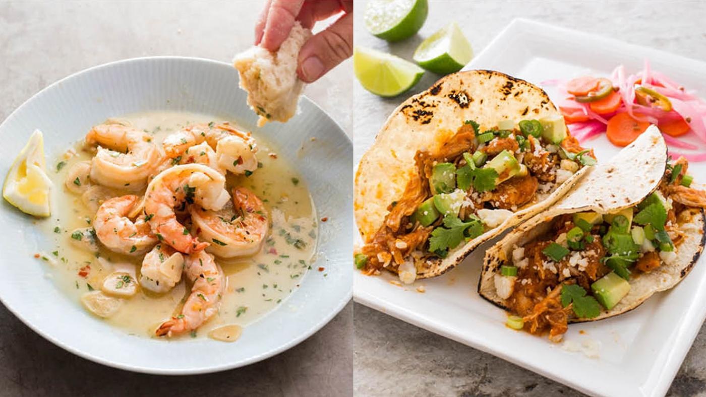 America's Test Kitchen's Shrimp Scampi and Shredded Chicken Tacos. (Carl Tremblay)