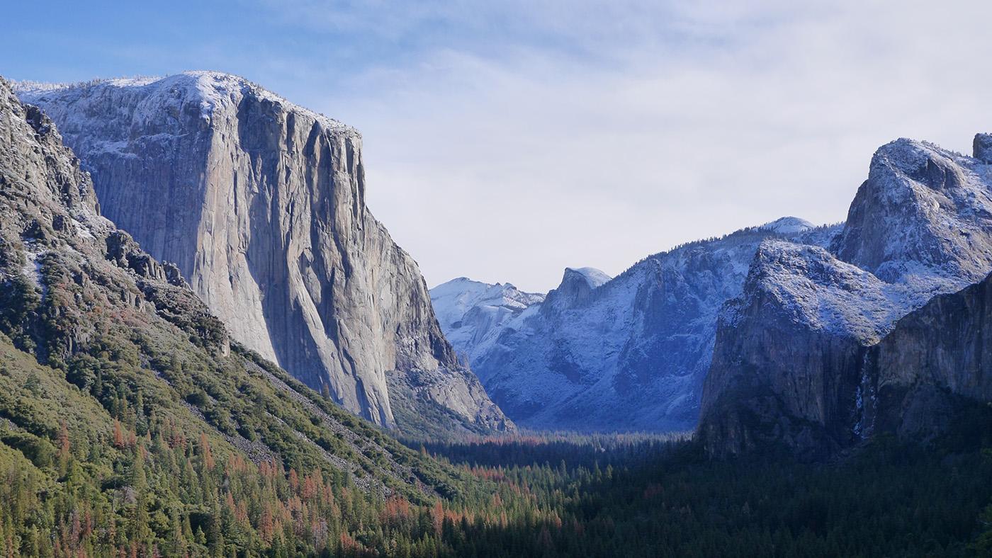 El Capitan on the left and the surrounding mountains in Yosemite National Park, California. (Courtesy of Joseph Pontecorvo/© THIRTEEN Productions LLC)