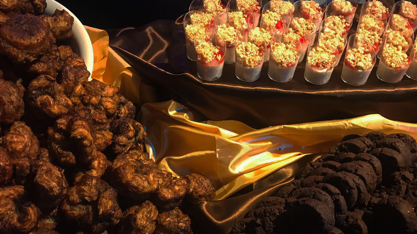 A spread of black seasame kouign-amann, lychee-coconut tapioca, and chocolate-raspberry sablés by San Francisco baker Belinda Leong.