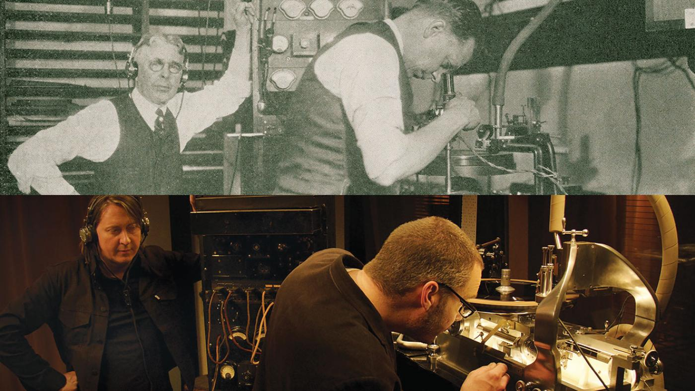 Okeh engineers with the Western Electric recording machine, and director Bernard MacMahon and engineer Nicholas Bergh. Photos: Maida Vale Music (top); ©2017 Lo-­‐Max Records Ltd.(bottom)