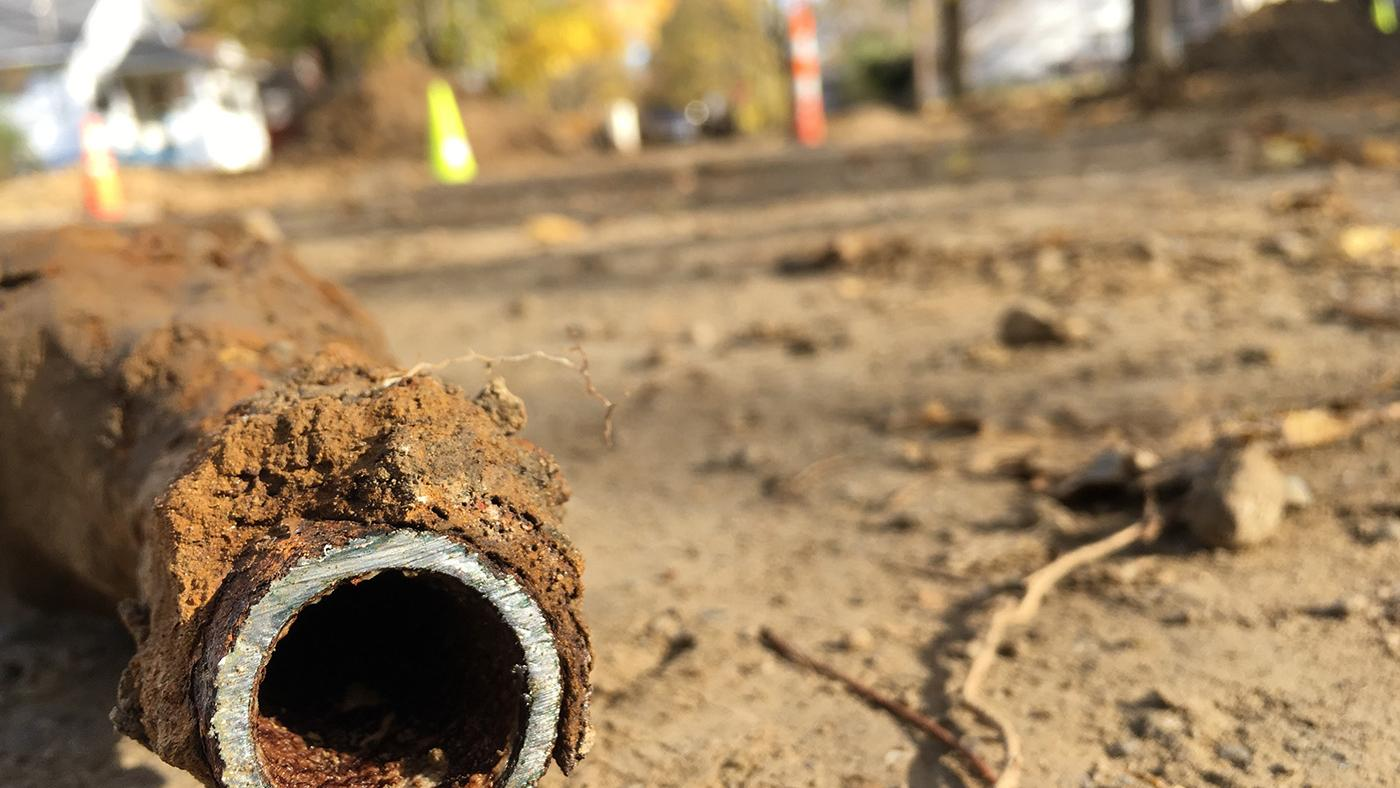A damaged pipe in Flint, Michigan. Photo: Caitlin Saks/WGBH