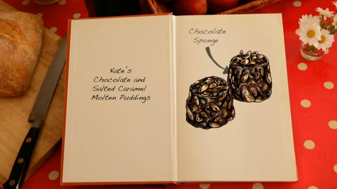 Kate's Chocolate and Salted Caramel Molten Puddings from The Great British Baking Show.
