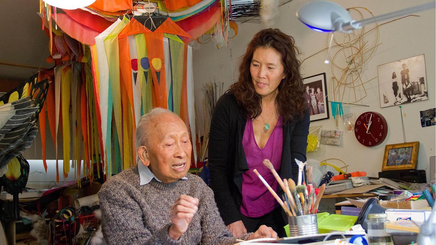 Tyrus Wong in his kite studio. Photo: Ildiko Lazslo