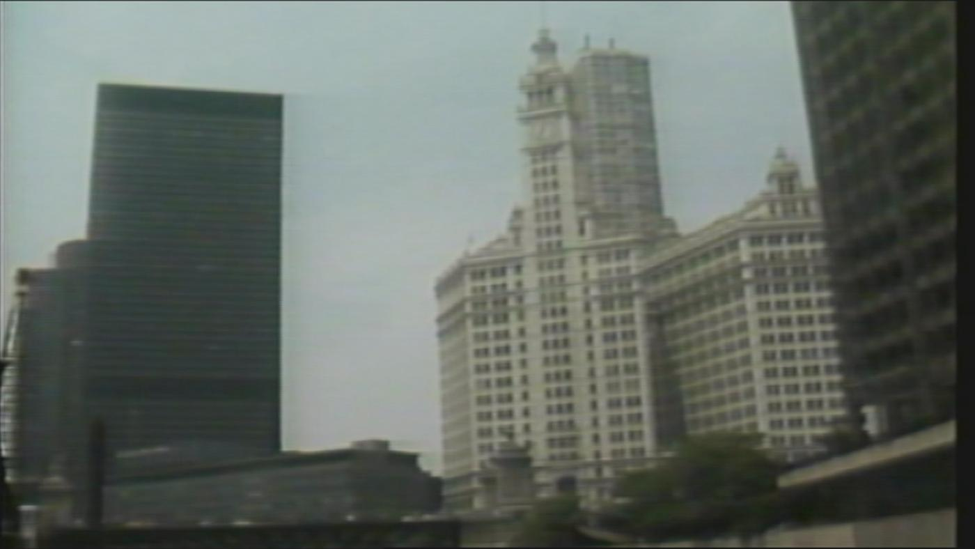 IBM Tower and the Wrigley Building in 1986