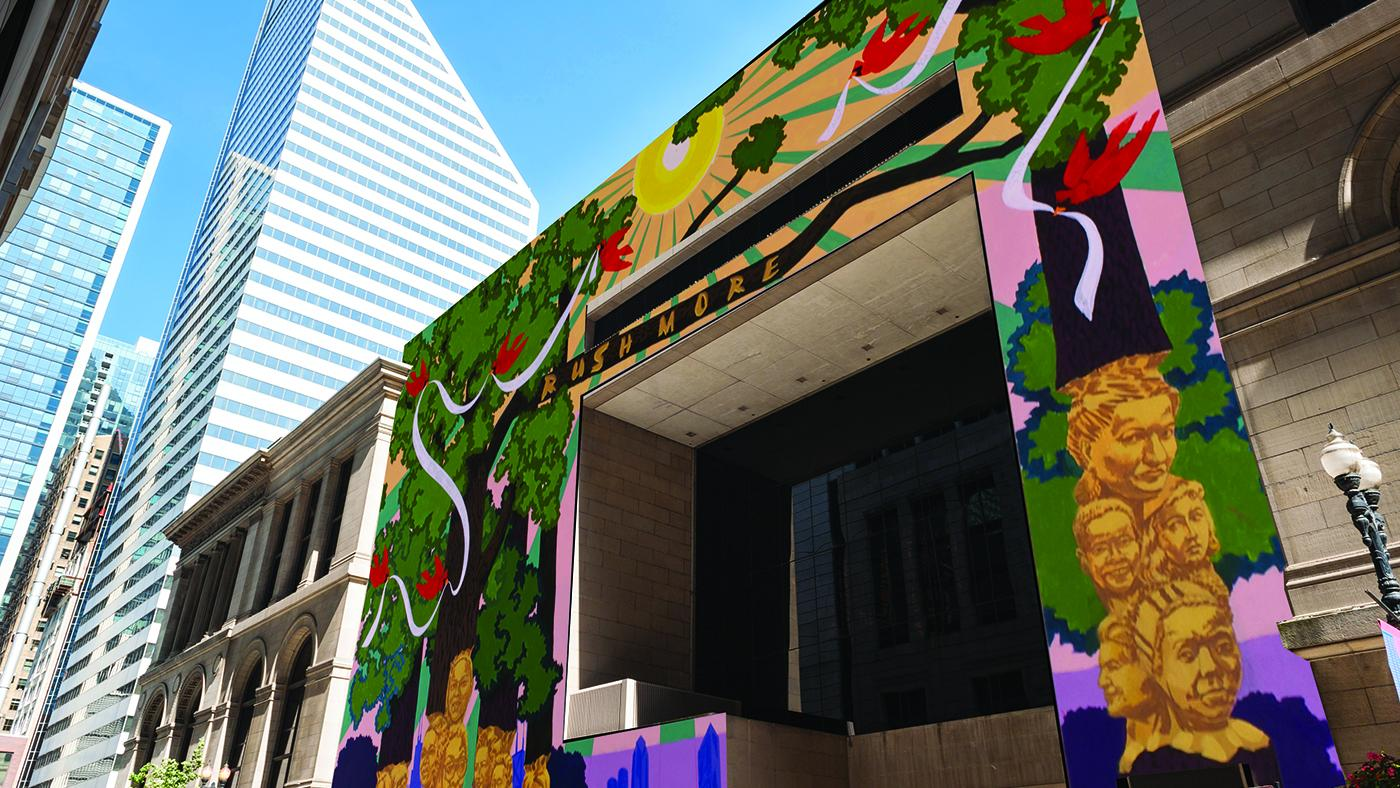 A rendering of Kerry James Marshall's Chicago Cultural Center mural