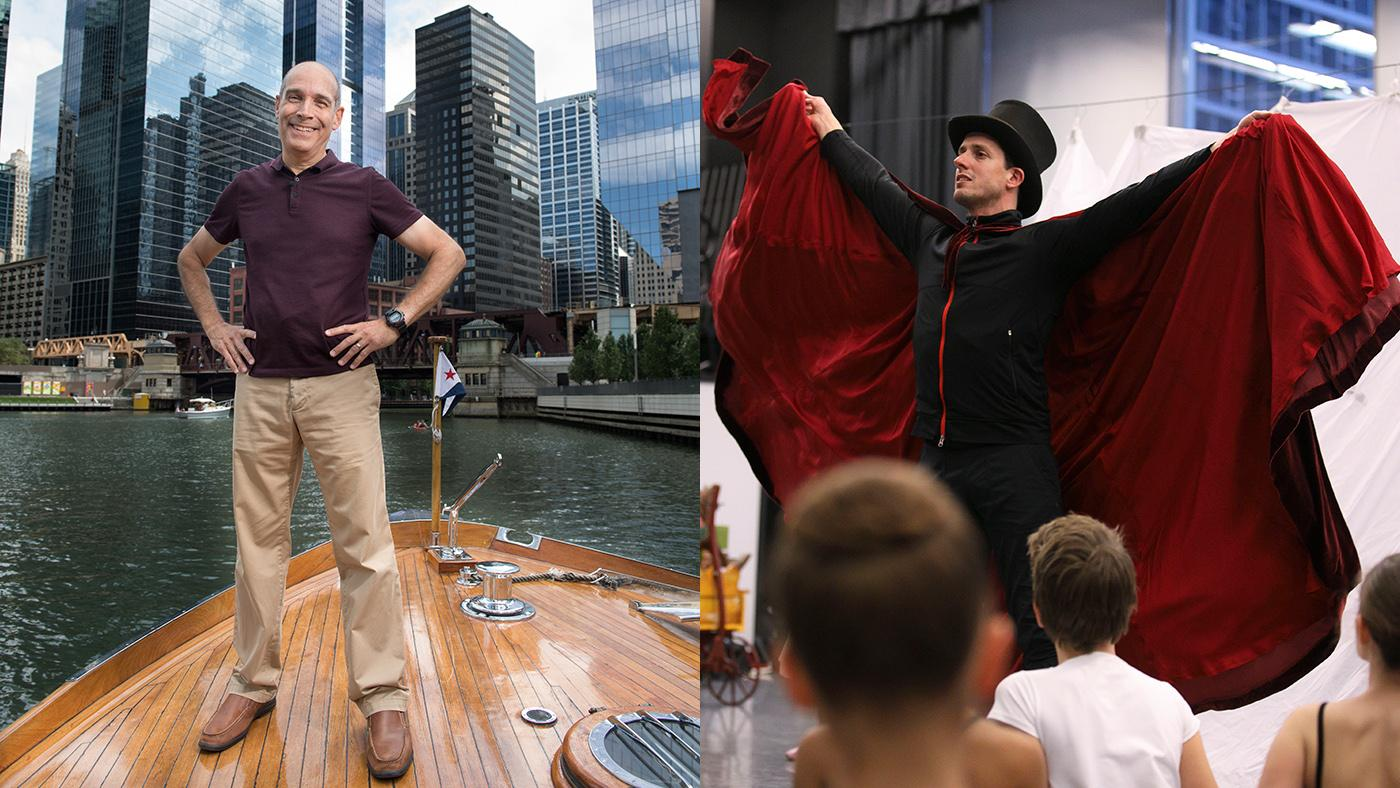 Geoffrey Baer on the Chicago River and Joffrey Ballet rehearsing the Nutcracker.