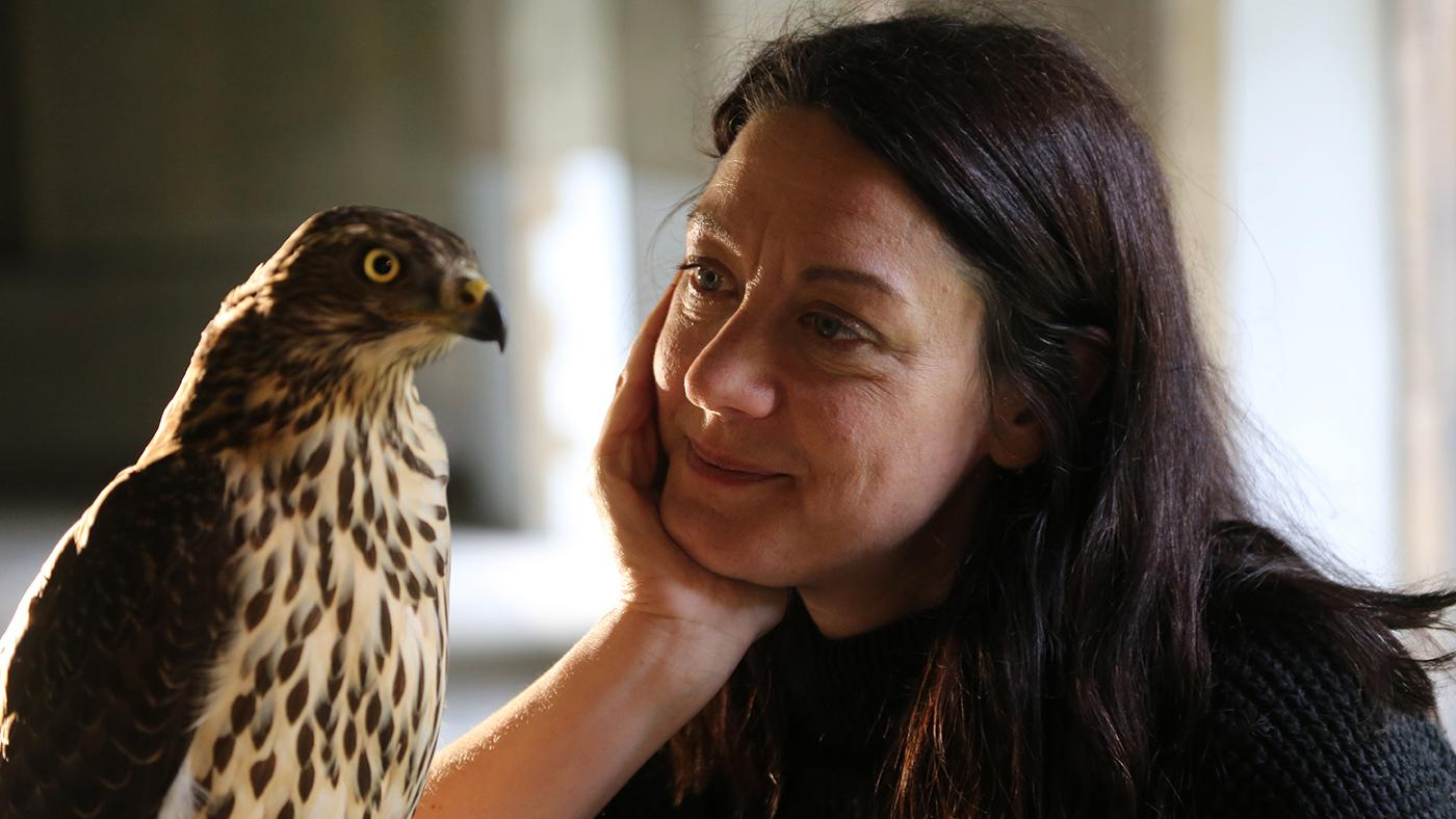 Helen Macdonald, author of H is for Hawk, with her goshawk Lupin. Photo: Courtesy Mike Birkhead Associates