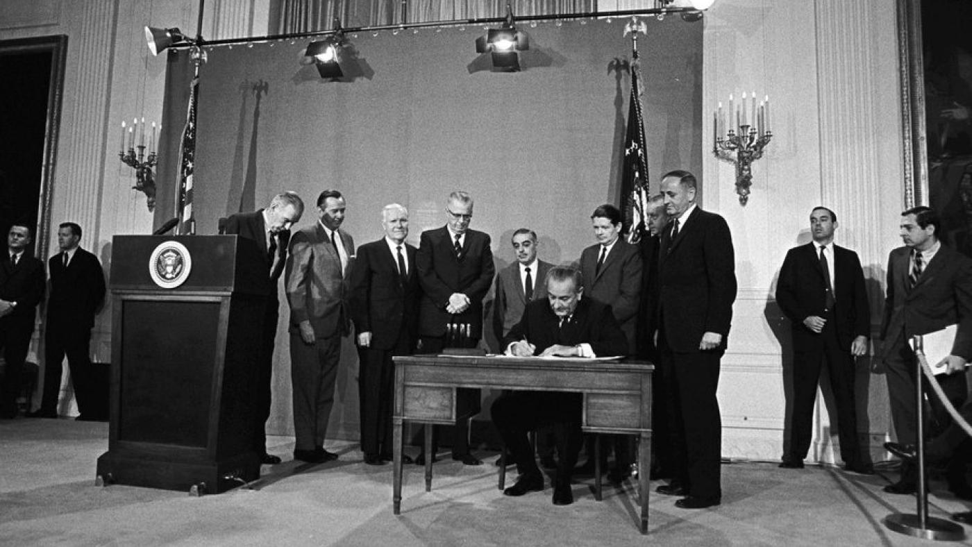 President Lyndon B. Johnson signs the Public Broadcasting Act of 1967. Photo: Yoichi Okamoto/LBJ Library