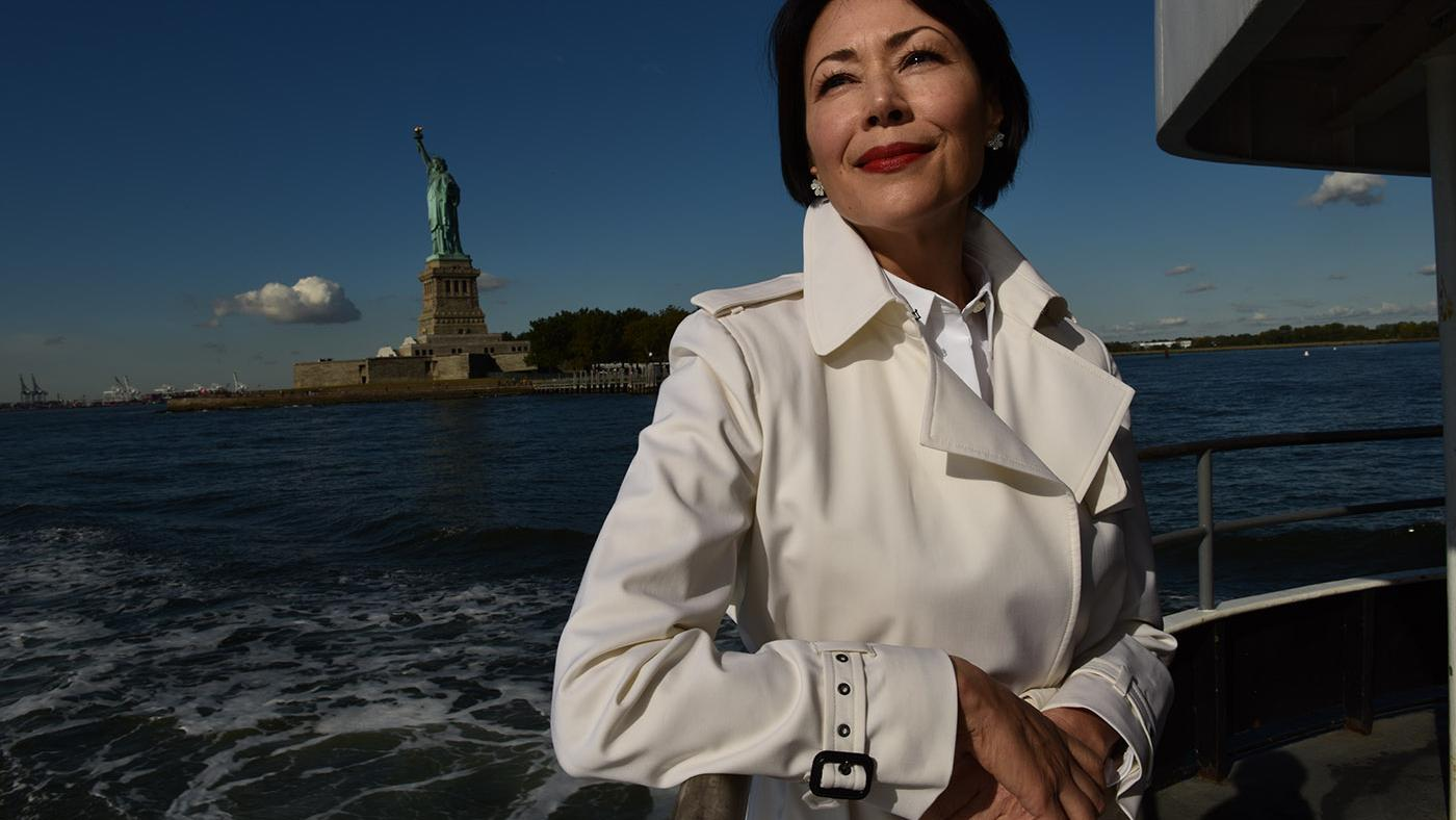 Ann Curry by the Statue of Liberty in We'll Meet Again. Photo: David Turnley
