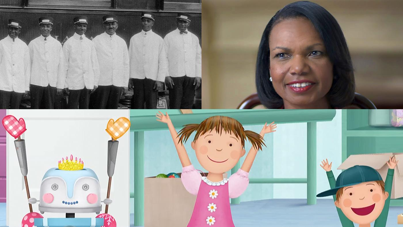 Clockwise from top left: Pullman Porters, Condoleezza Rice in American Creed, Pinkalicious and Peterrific. Images: APT, Citizen Films, WGBH