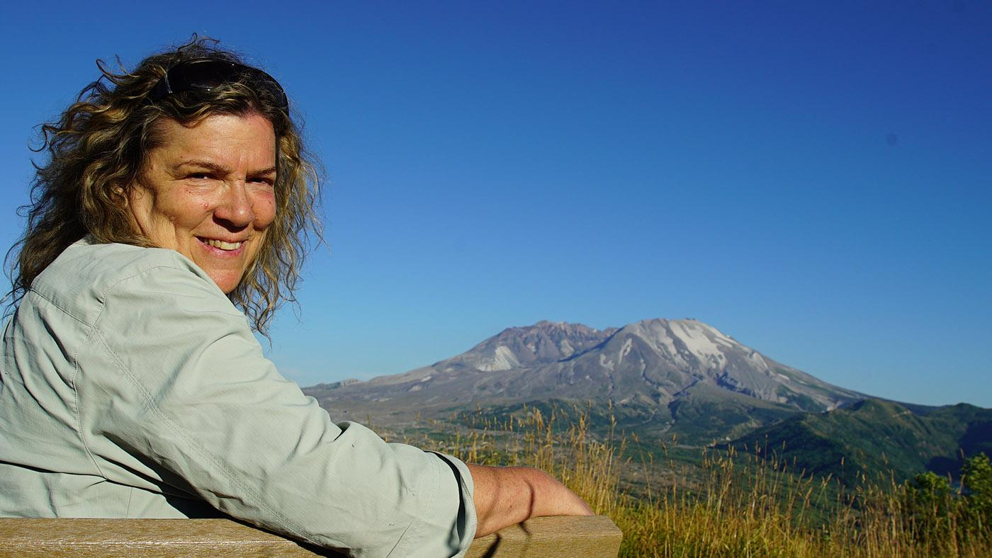 Mindy Brugman by Mt. St. Helens in Ann Curry's We'll Meet Again. Photo: Rebecca Burrell/Blink Films