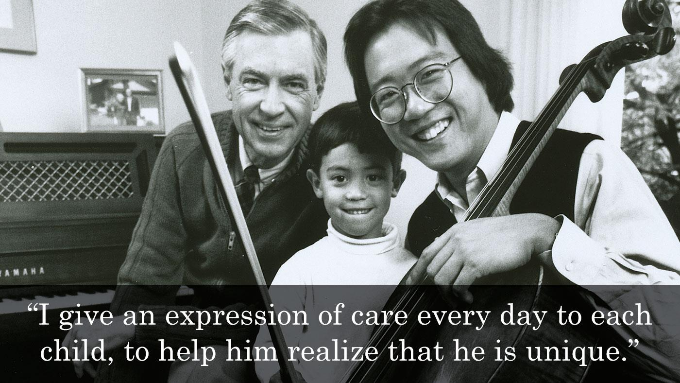 Yo-Yo Ma and his son Nicholas with Mister Rogers. Photo: Matt Bulvony