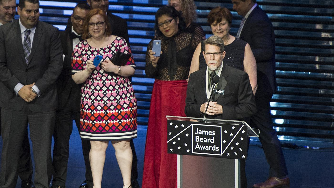 Rick Bayless accepting the award for Outstanding Restaurant at the James Beard Awards in 2017. Photo: James Beard Foundation