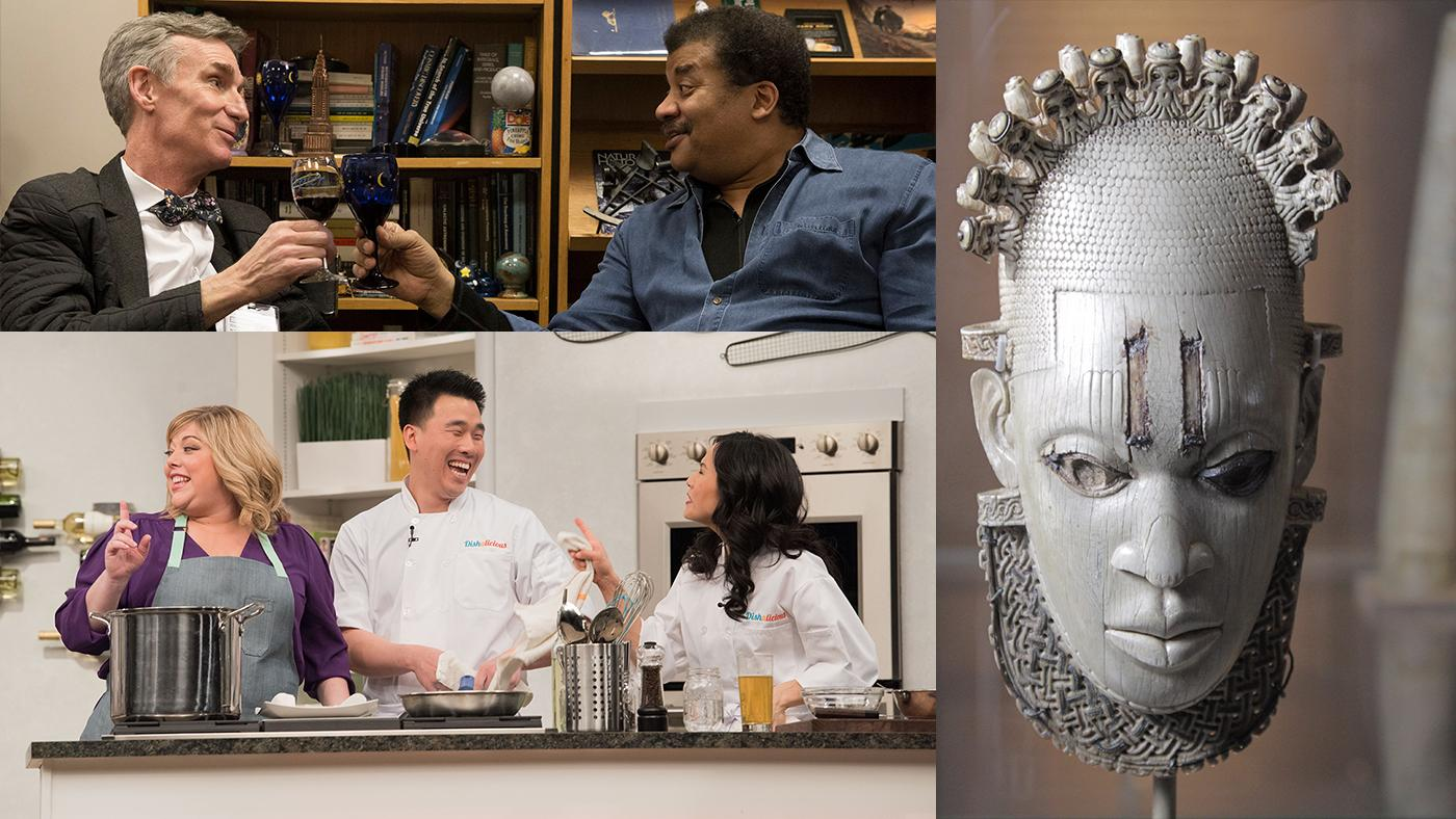 Bill Nye and Neil deGrasse Tyson; Carved Ivory mask-shaped hip pendant, inlaid with bronze Benin, Queen Idia, Artisit Unknown (16th century) – British Museum, London; Dishalicious. Photos: Erika Kapin/Structure Films; Nutopia Ltd; Bill Richert.