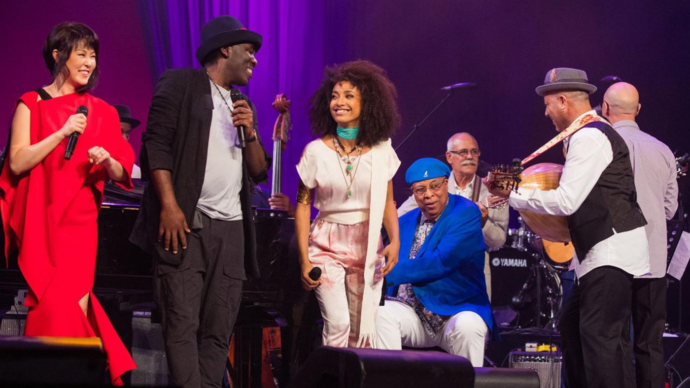 Youn Sun Nah, Esperanza Spalding, and Chucho Valdés, and others at International Jazz Day in Havana, Cuba. Photo: Steve Mundinger