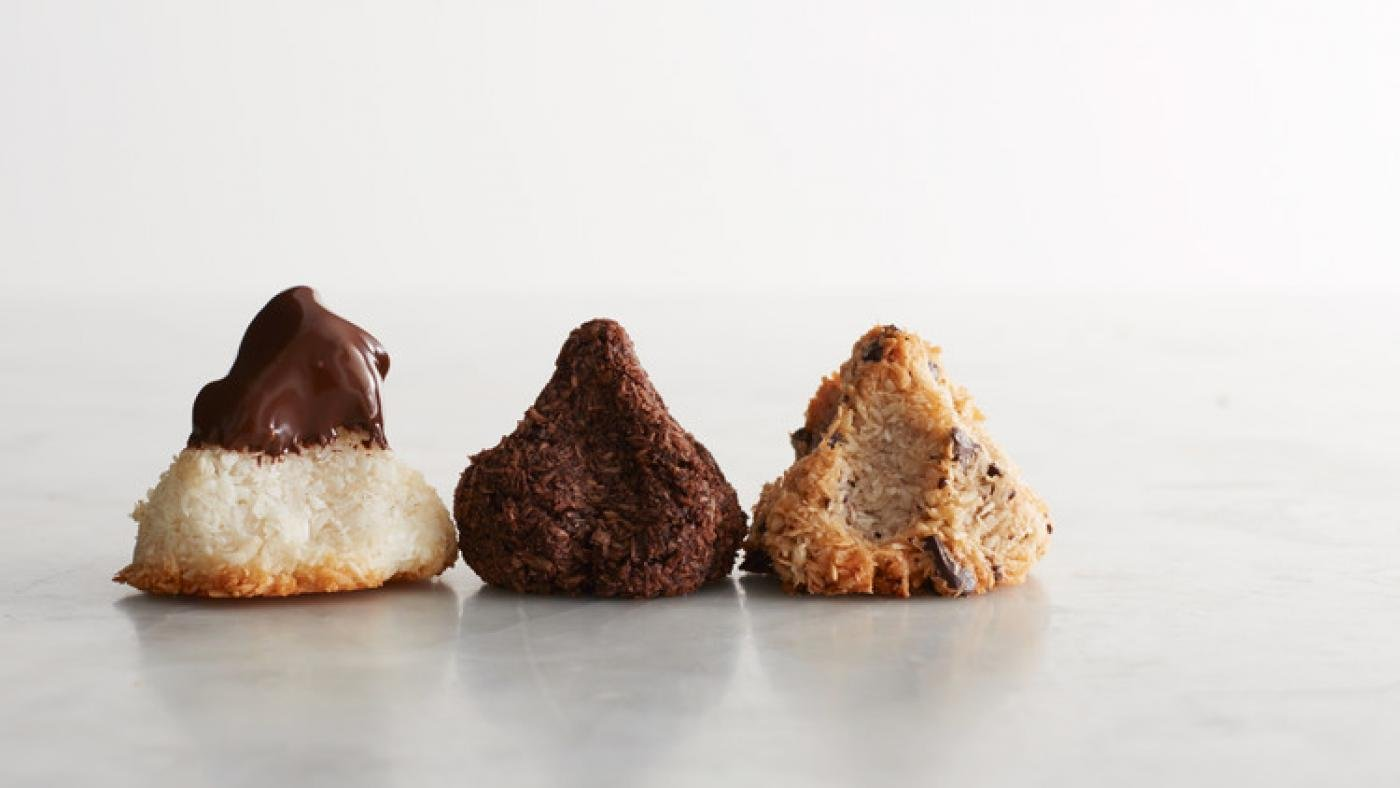 Martha Stewart's Coconut, Chocolate, and Chocolate-Chunk Macaroons. Photo: Bryan Gardner