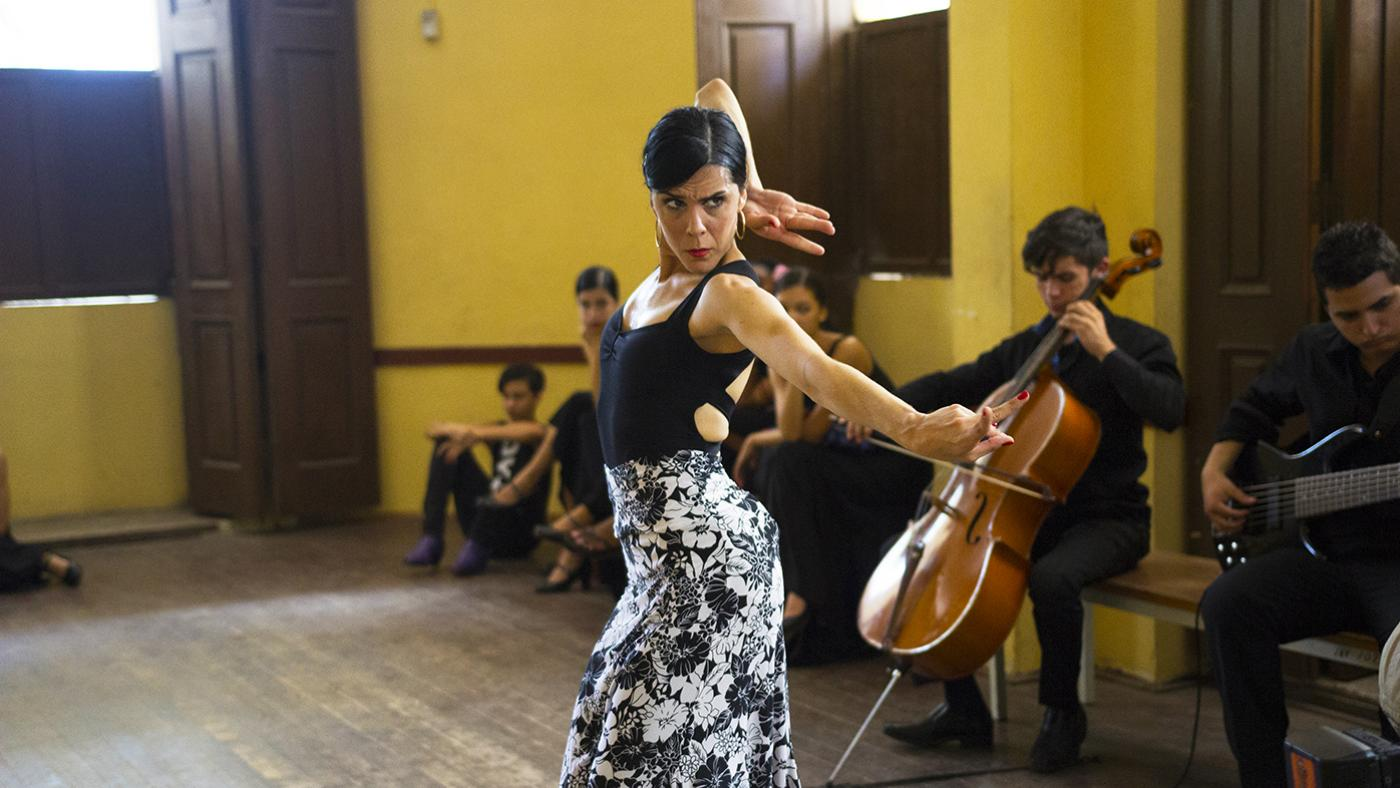 Flamenco dancer Irene Rodríguez performs during a dance class at La Escuela Nacional de Ballet de Cuba in Havana. Photo: Brian Canelles