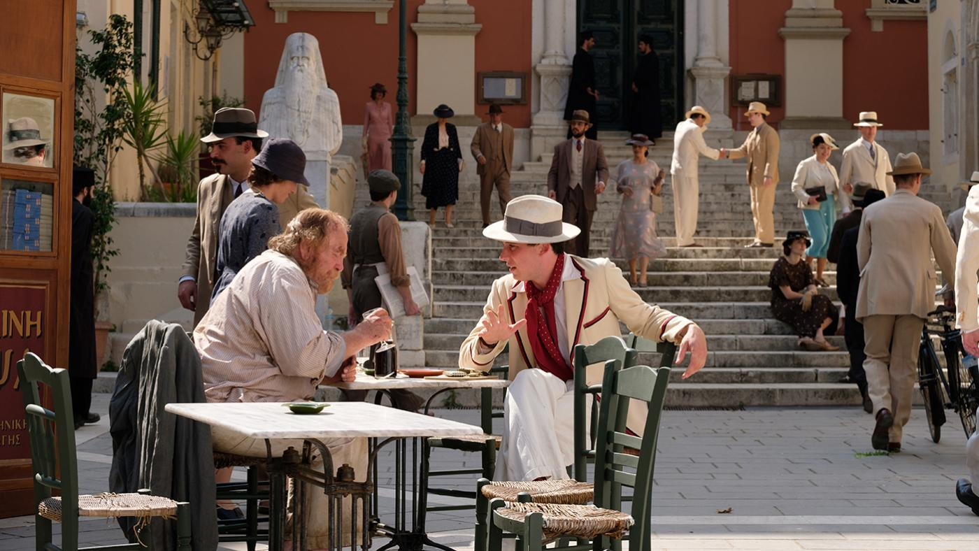 Captain Creech (JAMES COSMO) & Lawrence Durrell (JOSH O'CONNOR) in The Durrells in Corfu. Photo: Joss Barratt for Sid Gentle Films & MASTERPIECE