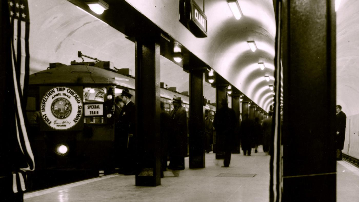 "A train of 4000-series cars stops at Clark/Division in April 1943 on an official ""inspection trip,"" showing guests progress on the subway's construction months before its completion and official opening in October. Photo: CTA"