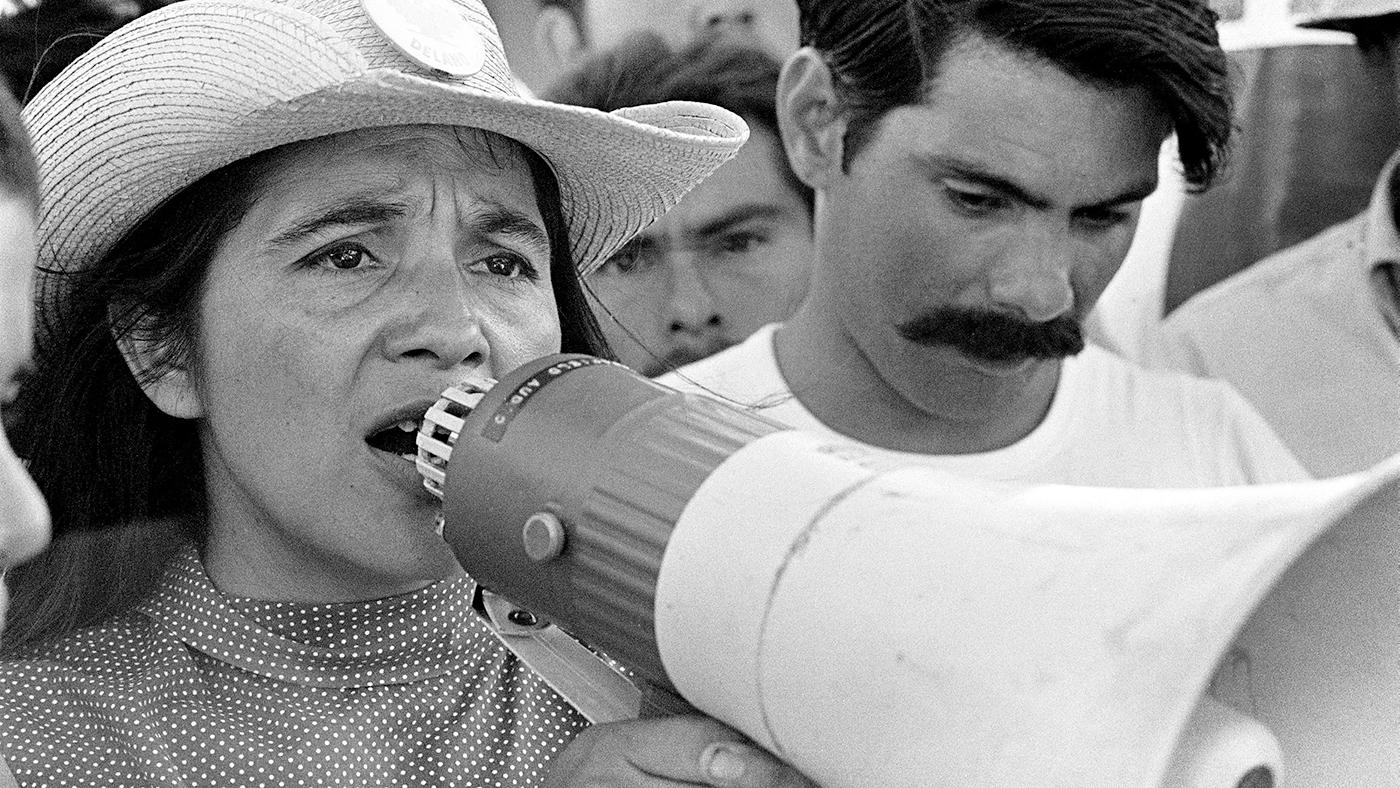 United Farm Workers leader Dolores Huerta organizing marchers on the 2nd day of March Coachella in Coachella, CA 1969. Photo: George Ballis / Take Stock / The Image Works