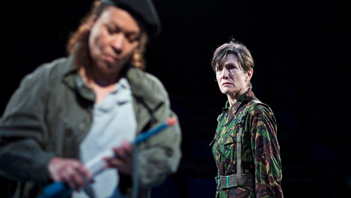 Martina Laird (Cassius) and Harriet Walter (Brutus) in Julius Caesar. Photo: Helen Maybanks
