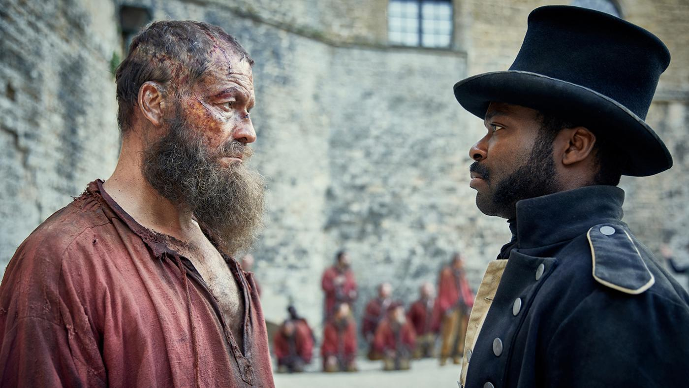 Jean Valjean (Dominic West) and Javert (David Oyelowo) in Les Miserables. Photo: Robert Viglasky / Lookout Point