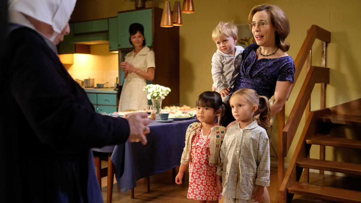 Shelagh with Mae and Angela in Call the Midwife. Photo: BBC/Neal Street Productions
