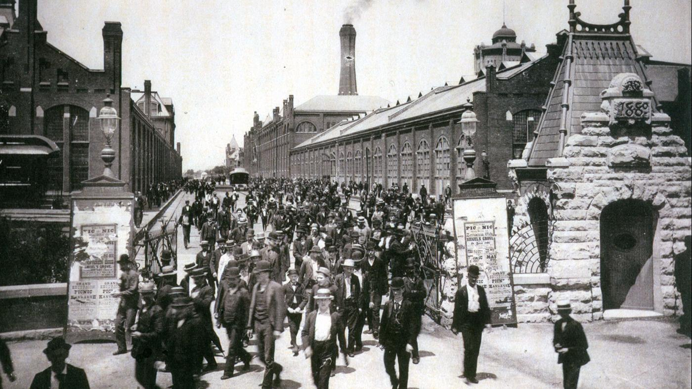 Workers leave the Pullman Palace Car Works, 1893. This picture appeared in a promotional booklet celebrating the labor policies of George Pullman.