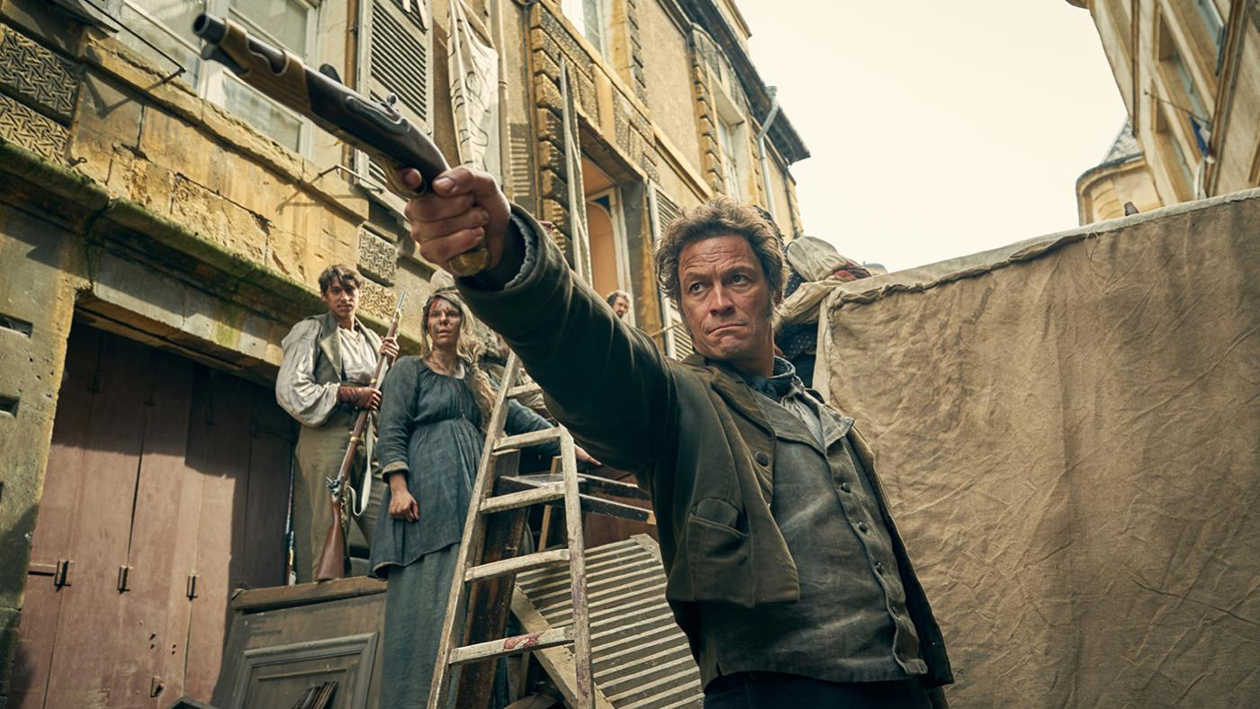 Jean Valjean (Dominic West) at the barricades in Les Miserables. Photo: Robert Viglasky / Lookout Point