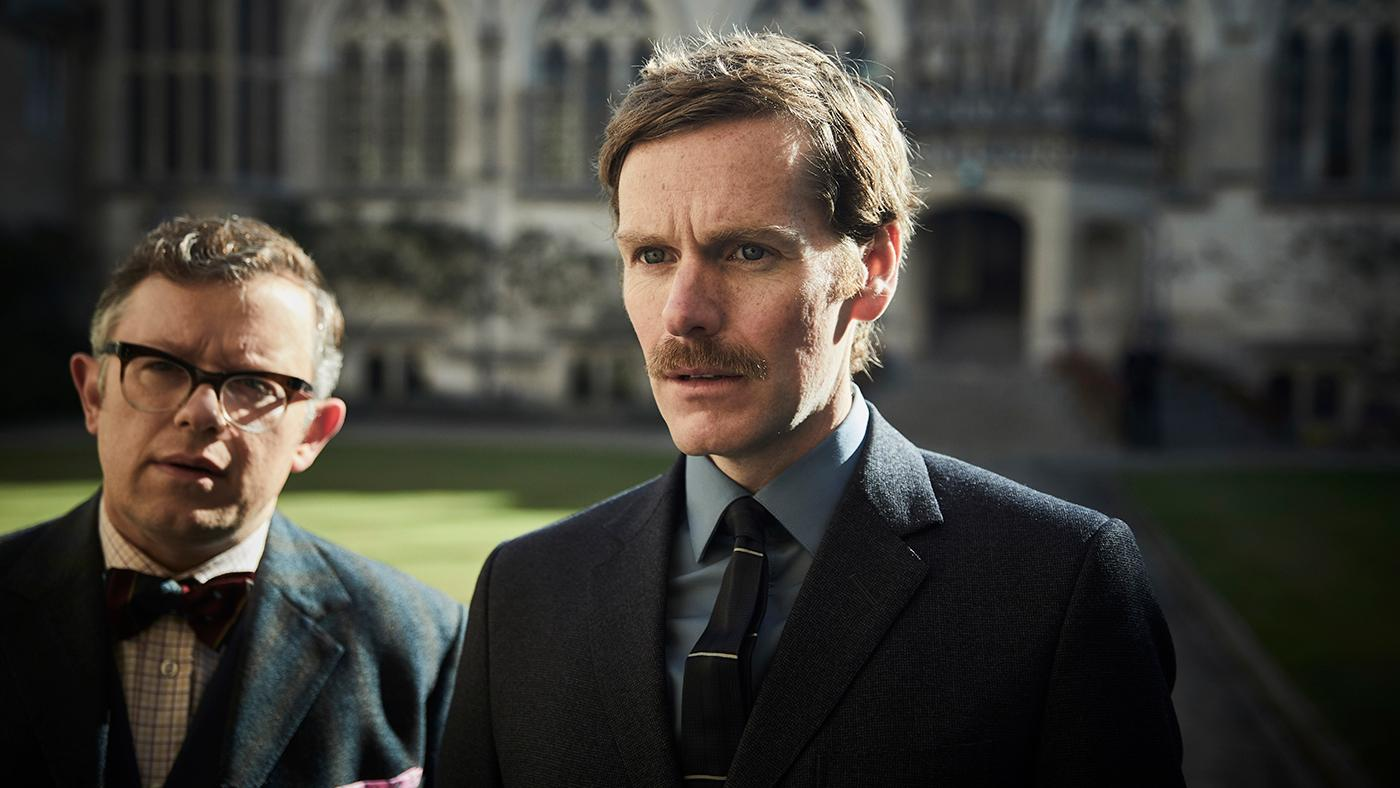 JAMES BRADSHAW as Dr. Max DeBryn and SHAUN EVANS as Endeavour. Photo: Mammoth for ITV and MASTERPIECE