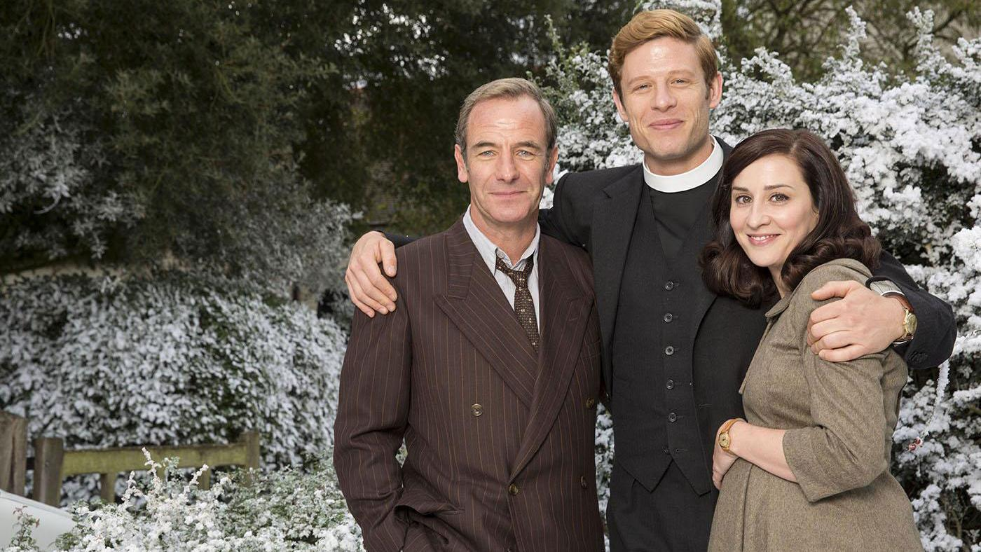 Robson Green as Geordie Keating, James Norton as Sidney Chambers and Morven Christie as Amanda in Grantchester. Photo: Colin Hutton and Kudos/ITV for MASTERPIECE